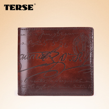 TERSE_short wallet genuine leather wallet for men fashion wallet handmade purse custom bags lettering wallet 5 colors in stock