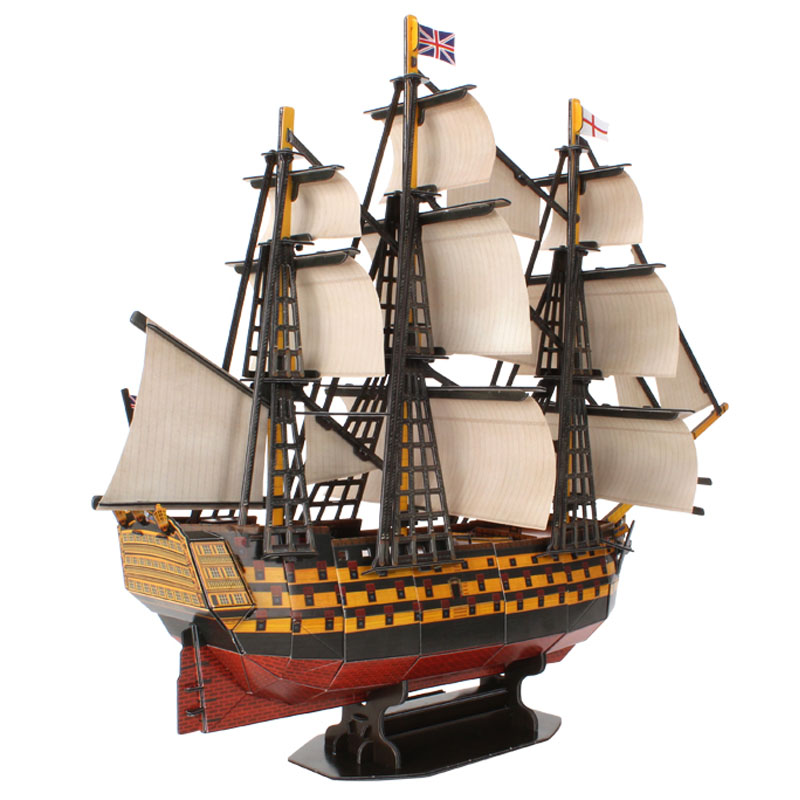 England HMS Victory boat ship T4019h Cubicfun 3D Puzzle Handmade DIY Toy Construction paper jigsaw Puzzles For Kids and adult cubicfun 3d paper model diy puzzle toy gift the spanish armada fleet philip ship boat t4017h children birthday free shipping