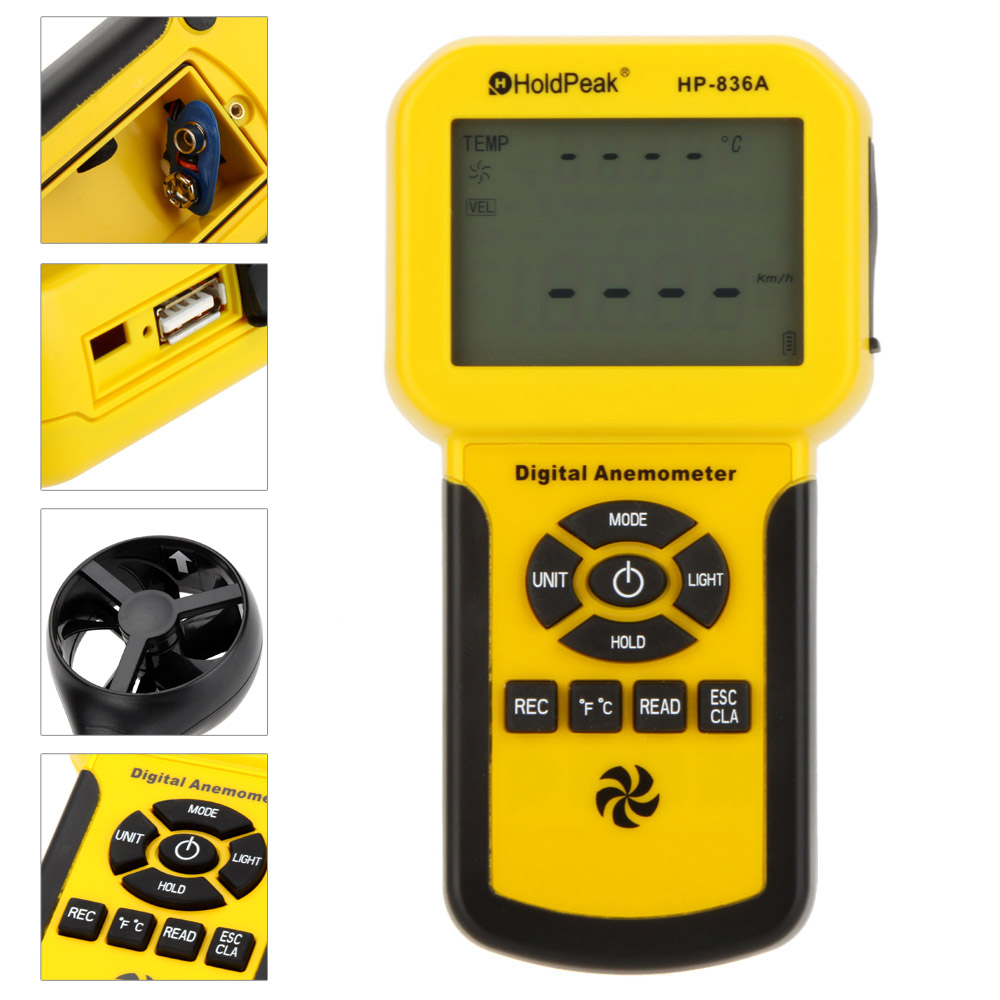 HoldPeak HP-836A Digital Wind Speed/Temperature Meter Anemometer Handheld with Data Logger Feature and Carry Case holdpeak hp 856a digital wind speed air volume meter anemometer usb handheld with data logger and carry case