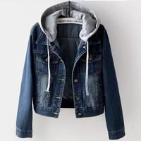 2019 New Spring autumn Women Hooded turn down collar Coat short slim Denim jackat plus size 4XL