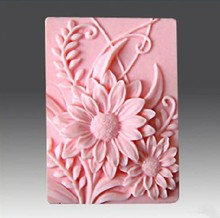 Wholesale sunflower pattern square silicone molds food grade soap making mold DIY craft tool