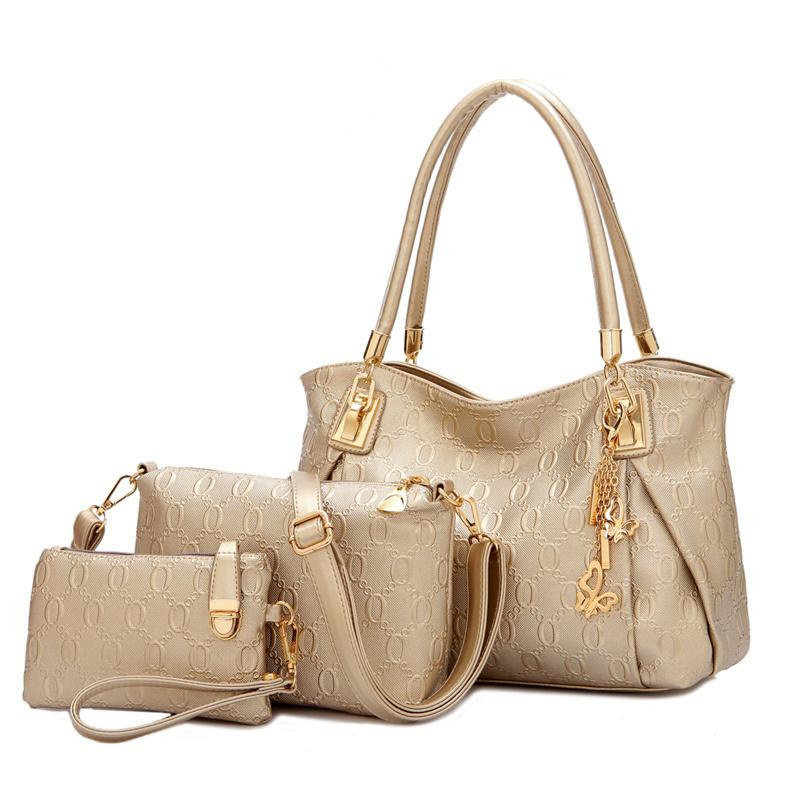 ФОТО Mother-Child-Bag Casual Women PU Leather Casual Handbag Ladies Trendy Shoulder Bag Simple Clutch Large Capacity Handbag
