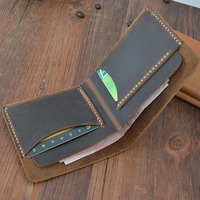 Genuine Leather Male Wallet Designer Vintage Short Purse High Quality Crazy Horse Handmade Small Money Case Minimalist Wallets