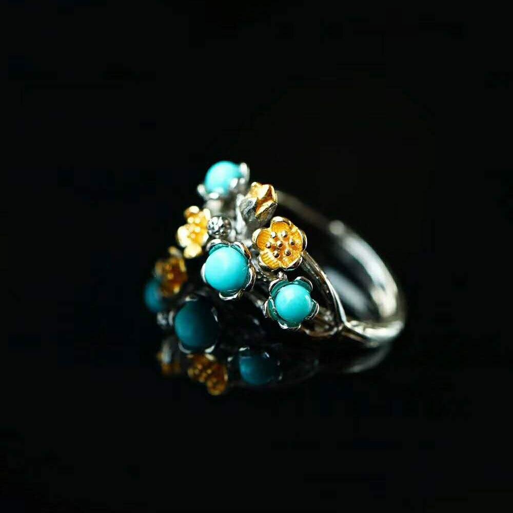 RADHORSE 925 Anneaux D'argent pour les Femmes Fine Jewelry Turquoise Branche Fleur Modélisation Sterling Argent Anneau Réglable Argent
