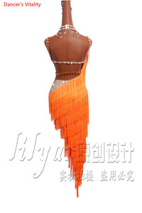 Image 4 - Женское платье для латиноамериканских танцев, роскошное платье на бретельках с бахромой и стразами, одежда для выступлений и соревнований