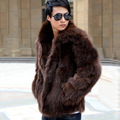 Short Black Men's Faux Fox Fur Overcoat Fur Lapel Thickening Warm Leather Jackets Men's Fur Coat