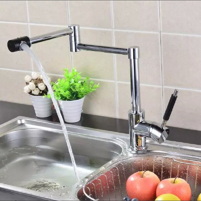 Two function Kitchen Sink Faucet Stretch Folding Bathroom Kitchen ...