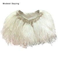 Luxury Ivory Ostrich Feather Coats Wedding Fur Boleros 2017 Crystal Bridal Shawl for evening dresses Wedding Accessories YB14