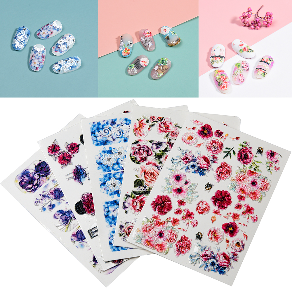 3D Acrylic Engraved flower Nail Sticker blue flowers birds  Water Decals Empaistic Nail Water Slide Decals Z0165-in Stickers & Decals from Beauty & Health