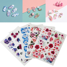 3D Acrylic Engraved flower Nail Sticker blue flowers birds  Water Decals Empaistic Nail Water Slide Decals Z0165
