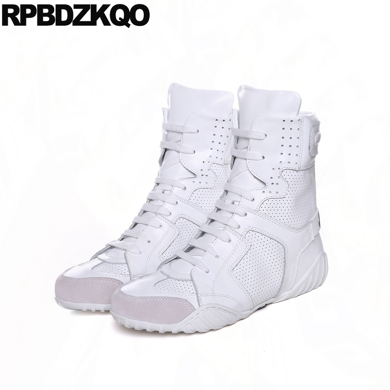Shoes Sneakers 2017 Flat Women Fall Wedge Front Lace Up Casual Ankle Boots Autumn Round Toe White Big Brand Genuine Leather