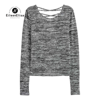 Eileen Elisa Undershirt Women High Quality 2017 Fashion Open Back Shirts With Long Sleeved Bottoming Shirt