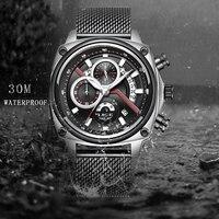 ליגע Mens שעונים למעלה מותג יוקרה מזדמן אופנה שעון גברים נטו עם עמיד למים שעון קוורץ ספורט שעוני יד Relogio Masculino