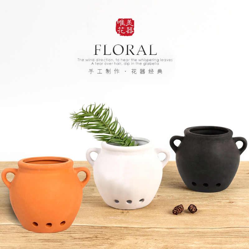 Kreatywny Ceramiczny Czarny Biały I Garnki Gliniane Podwójne Uszy Sukulenty Mięsiste Rośliny Wiszące Doniczki Mini Domogródbiuro Dekoracji