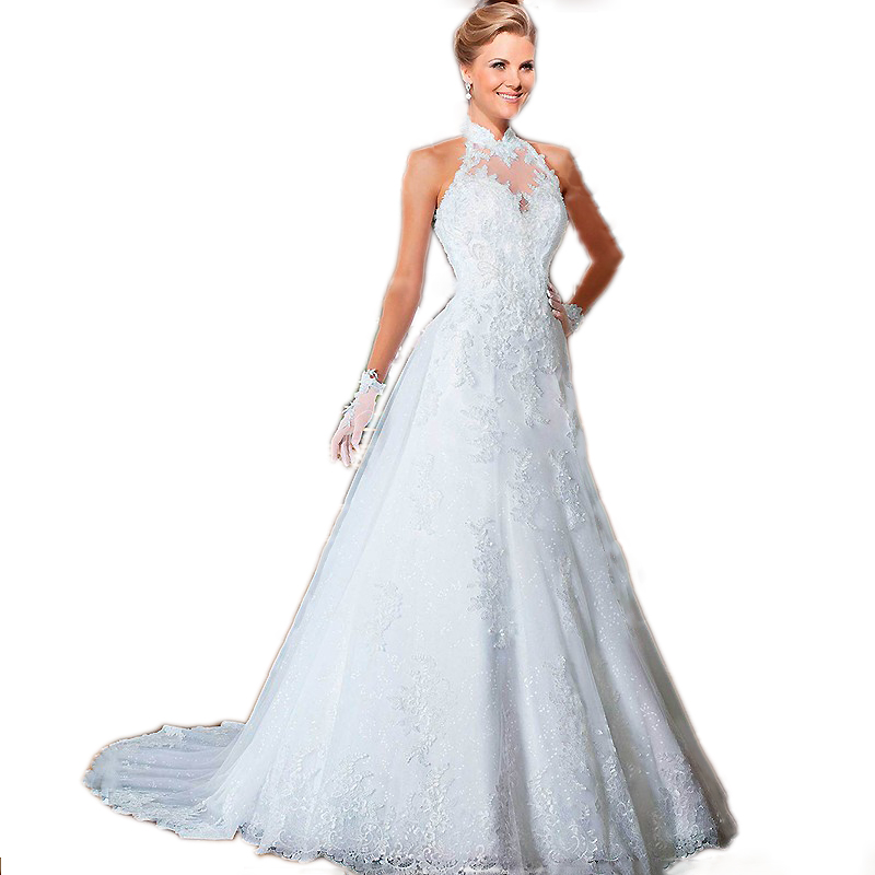 Designer High Neckline Wedding Dress Gowns Off Shoulder A Line Lace ...