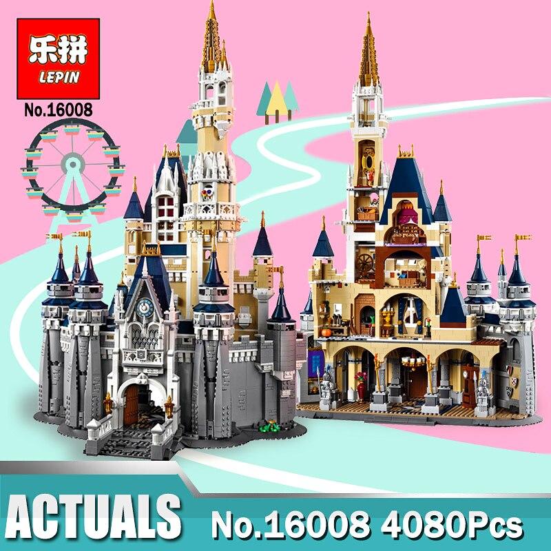LEPIN 16008 Cinderella Princess Castle City set 4080pcs Building Block Kids DIY Toy Birthday Gift Compatible Legoinglys 71040 lepin 16008 lepin cinderella princess castle building block compatible legoing 71040 legoing cinderella princess castle set
