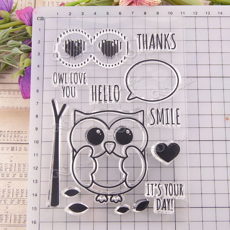 Owl Clear Silicone Stamp/Seal for DIY scrapbooking/photo album Decorative Z762 lovely animals and ballon design transparent clear silicone stamp for diy scrapbooking photo album clear stamp cl 278