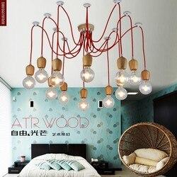 Vintage anhänger licht Eiche Holz lampe bunte draht E27/E26 buchse holz fassung Hängen leuchte. nur lampe, Keine glühbirnen