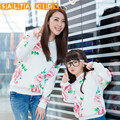 1pcMother Daughter Sweatshirts Fashion Long Sleeve Flower Family Look Matching Clothes Cotton Mom Girl Cloth Family Clothing A40