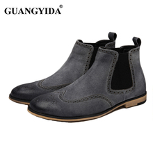 New kanye west Chelsea boots Men boots Suede leather shoes Autumn Winter shoes Brogue style Fashion men shoes ankle boots ST05