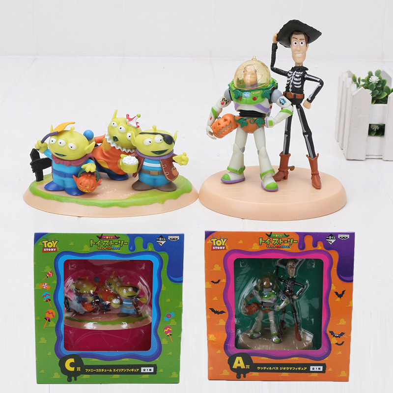 7-14cm Toy Story 4 Buzz Lightyear Woody Green Alien with Pumpkin Halloween PVC Action Figure model doll toys for Collection toy story bunny toys