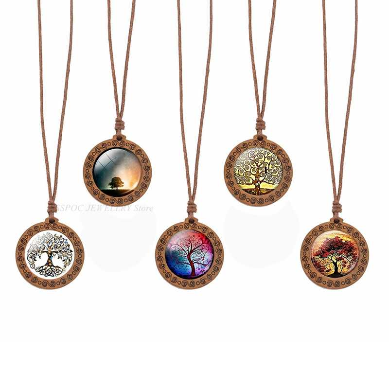 Tree of Life Wooden Necklace Cabochon Glass Wood Pendant Women Family Life Tree Art Jewelry Wax Rope Chain Necklaces Gift