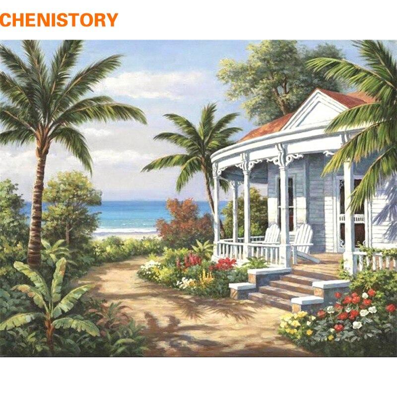 CHENISTORY mar Paisaje Digital Diy pintura al óleo por números moderno pared Lona de arte pintura acrílico foto para la decoración de la casa