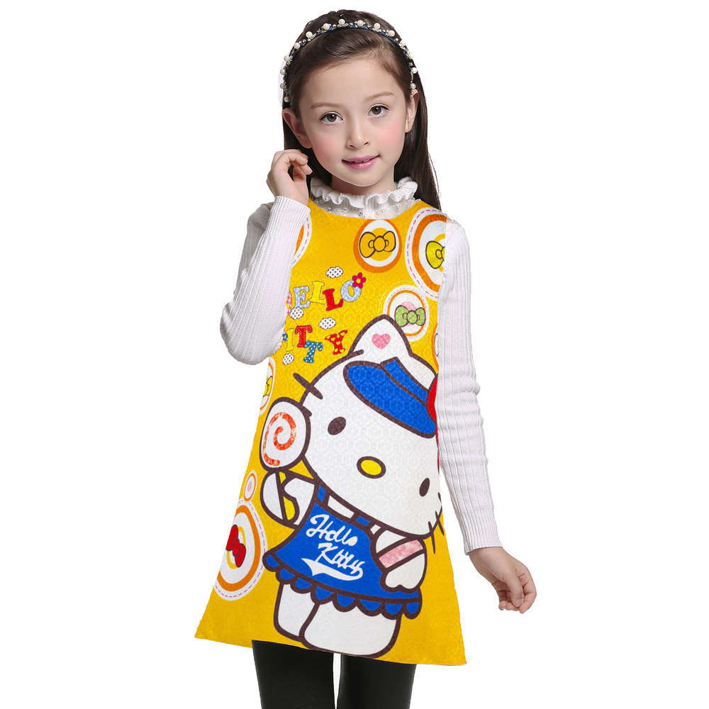 3 4 5 6 7 8 9 10 11 12 Years Kids Girls Dress Hello Kitty Summer Baby Clothes Girl's Wear birthday party Children Clothing