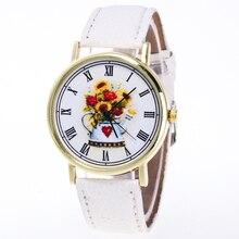 Um Ausuky 2017 Nova Moda Camélia Dail relógio de Pulso Das Mulheres Relógio de Couro Relógios de Quartzo Mulheres Senhora Menina Black White Brown B