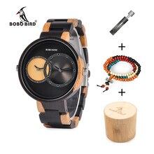 BOBO BIRD Wooden Watches Men Women Quartz Wristwatch Multiple Time Zone Reloj de