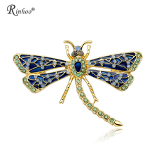 RINHOO Fashion Insect Dragonfly Brooch Crystal Rhinestone Gold Color Collar  Costume Vintage Jewelry Gift Brooch Pin 27797193084b