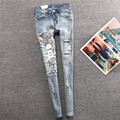 New Arrival 2015 Women's Skinny Pants Ripped Skull Destroyed Jeans Slim Leg Pencil Pants Light Blue Elastic Woman Denim Trousers
