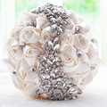 2017 New Fashion Cheap Wedding Bouquet With Brilliant Crystal Bridal Rose Exquisite Flower Multi-color Free Shipping