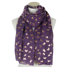 2018 Fashion Black Purple White Gold Foil Butterfly Pattern Soft Long Shawl Pashmina Stole Scarf For Ladies Women foulard femme