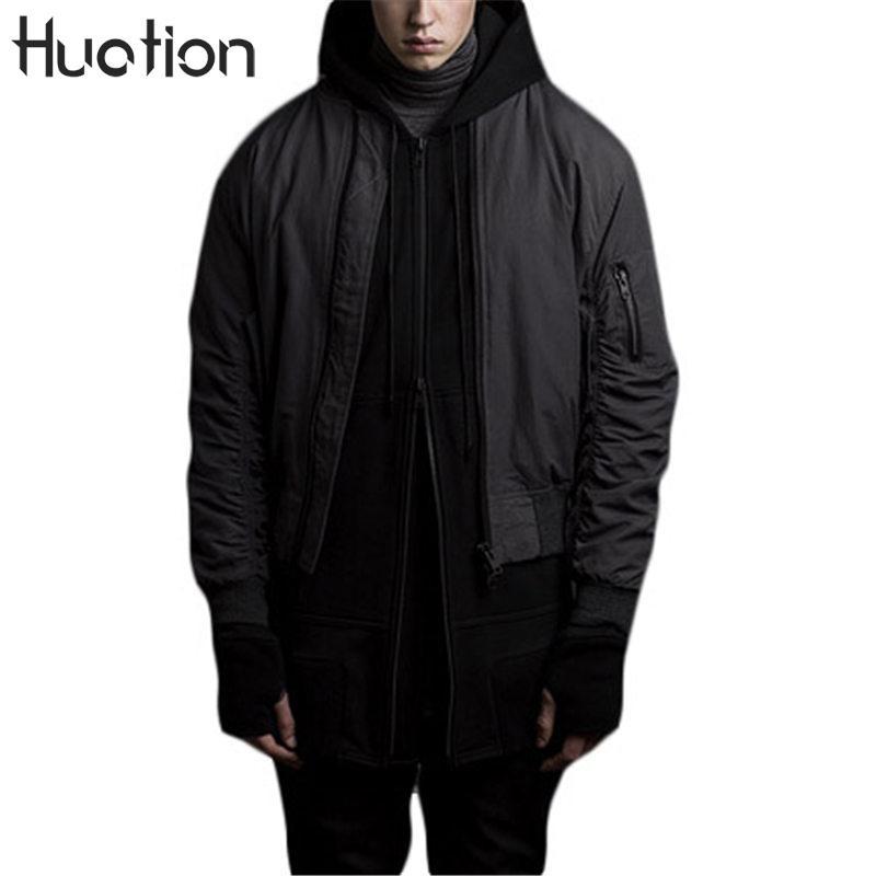 Huation Noir Blouson Salut-rue Ma1 Force Aérienne Hip Hop Blousons Hommes À Capuche Coupe-Vent Homme Manteaux Veste hommes Outwear