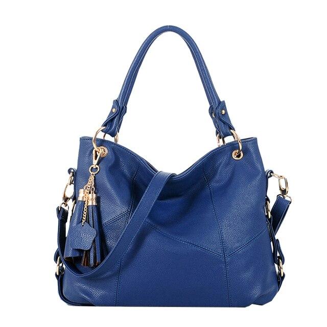 High Quality PU Leather Bag Cowhide Women's Tassel Bag Shoulder Bag Vintage Handbag 3 Colors