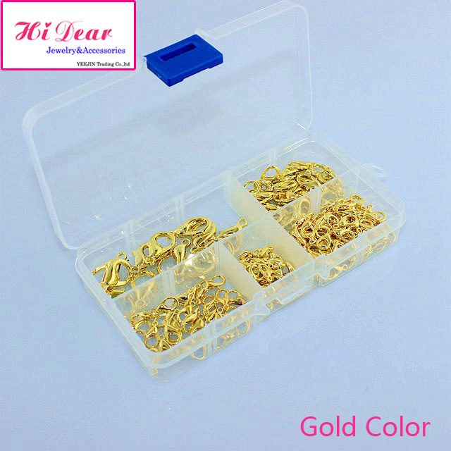 A Box of 5 Sizes Lobster Clasps Sets Gold/Silver/Rhodium/Bronze Plated Fashion Jewelry Crafts DIY Findings Accessories