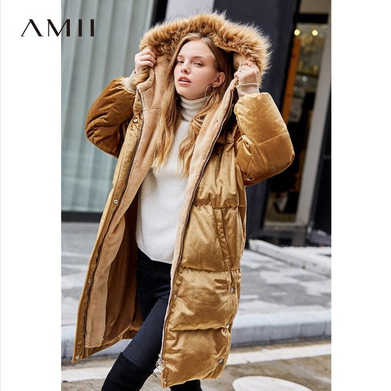Amii минималистичный длинный пуховик женский зимний 2018 элегантный однотонный бархатный флисовый меховой воротник белый утиный пух Длинные п...