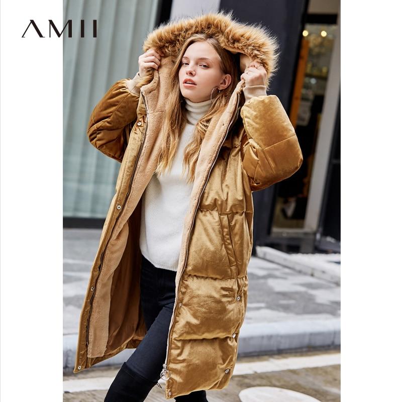 Amii Minimaliste Long Vers Le Bas Veste Femmes Hiver 2018 Élégante Solide Velours Polaire Col De Fourrure Duvet de Canard Blanc Longue Parkas Manteau
