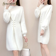 Pullover Knit Women Winter Sweater Dress 2019 New Imitation Mink velvet Long Slim White Dress Bottoming Sweater Female WYT644(China)