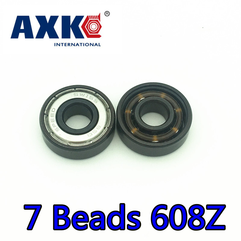 Thrust Bearing Axk 1 Set 16pcs 7 Beads 608z Swiss Bsb Balls High Speed Skateboard Hand Spinner Skate Roller Bearing 8*22*7mm стоимость