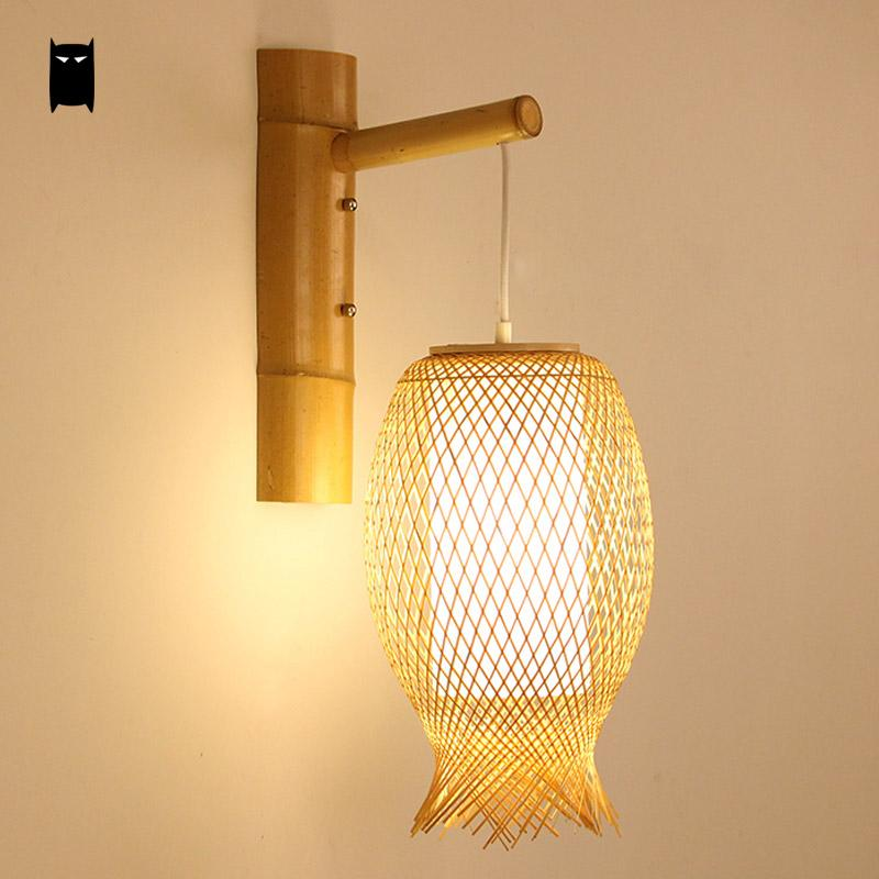 Online shop bamboo wicker rattan lantern wall lamp fixture rustic online shop bamboo wicker rattan lantern wall lamp fixture rustic asian japanese creative sconce light luminaria bedroom living room hallway aliexpress aloadofball Image collections