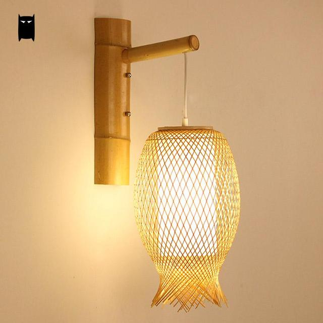 Bambou Osier Rotin Lanterne Applique Luminaire Rustique Asiatique