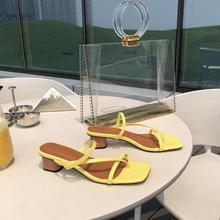 Women Summer Sandals Vintage Slippers Narrow Band Slip on Square Heel Ladies Beach Casual Open Toe Flip Flops