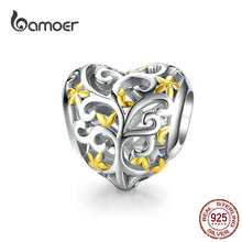 bamoer Tree of Life Heart-shape Charm Compatible European Bracelet Female Family Beads for Women Jewelry Making SCC1249
