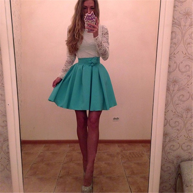 2017 spring fashion new women white lace patchwork dress casual o neck long  sleeved dresses red green party dress Robe Vestidos-in Dresses from Women s  ... 42c346da4