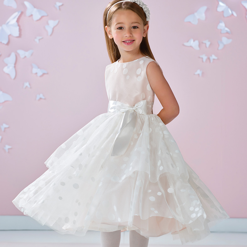 New Flower Girls Tulle with Bowknot Sash A Line Tea-length Sweety Girls First Communion Dresses Elegant Princess Birthday Gowns
