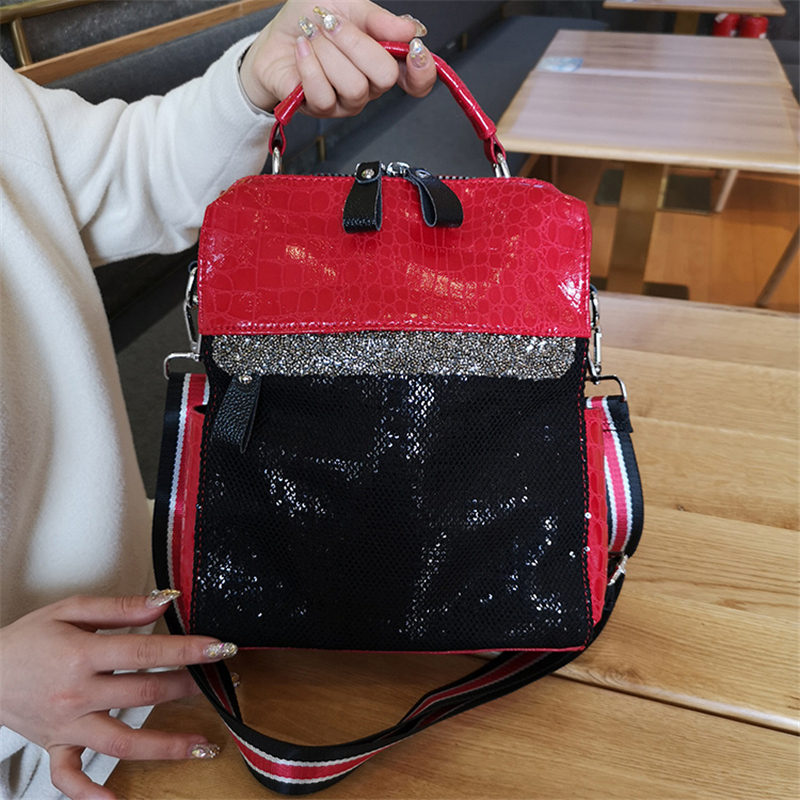 Women Crystal Totes Luxury Shoulder Bags Black Red Sequins Women Snake Pattern Leather Patchwork Handbags Ladies