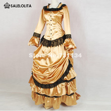 7b70fb125207 Custom Noble Gold Noble Vintage Bustle Style Ball Gown Medieval Renaissance  Gothic Victorian Dress Historical Costumes