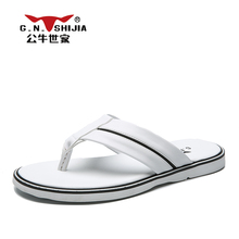 G.N. SHI JIA 2017 Hot Sale Men's Flipflops Solid Color PU Leather Rubber Sole Light Convenient Wearing Male Slides 888417